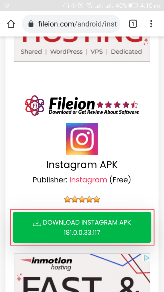 Click on the download button named Download Instagram APK