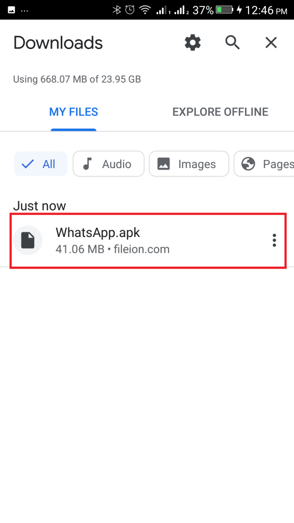 Click on the downloaded file From Downloads to start installing WhatsApp APK
