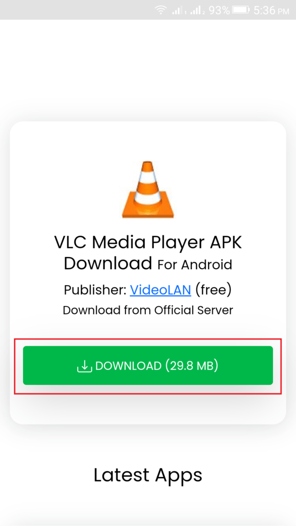 Click on the download button to start downloading VLC Media Player APK