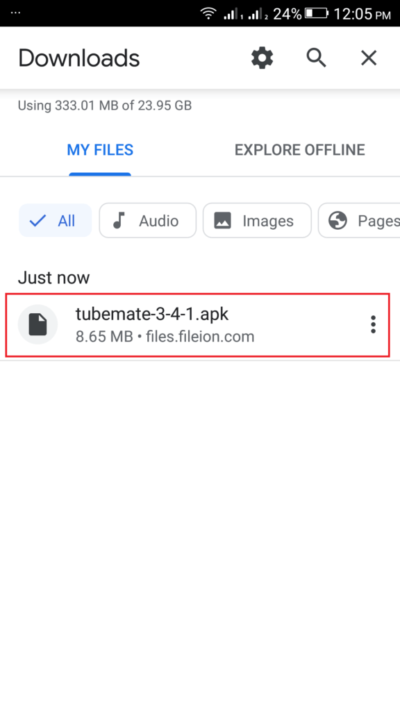 Click on the downloaded file From Downloads to start installing TubeMate APK