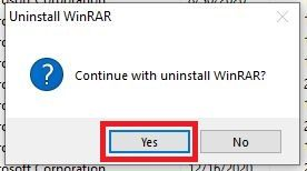 Click on Yes to start uninstalling WinRAR