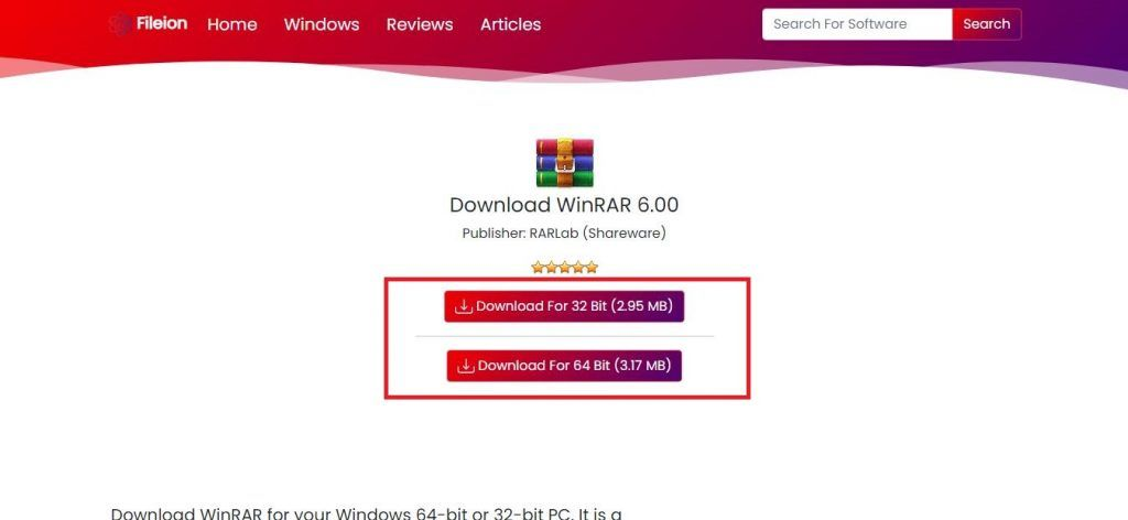 Click on one of the download buttons to start downloading WinRAR