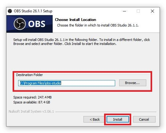 Choose destination folder and click on Install