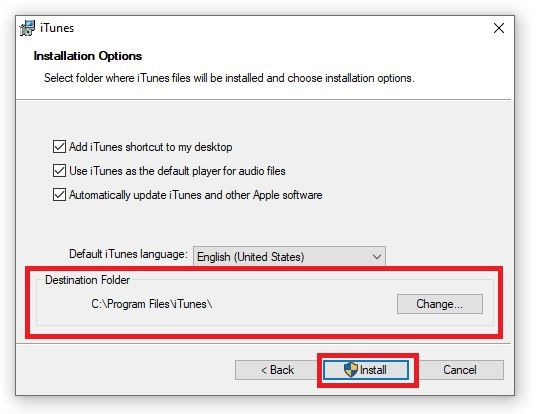 Chose destination folder where you want to install iTunes and then Click on Install