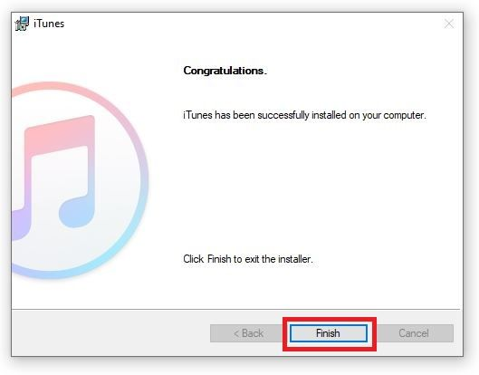 Click on Finish to complete the installation of iTunes