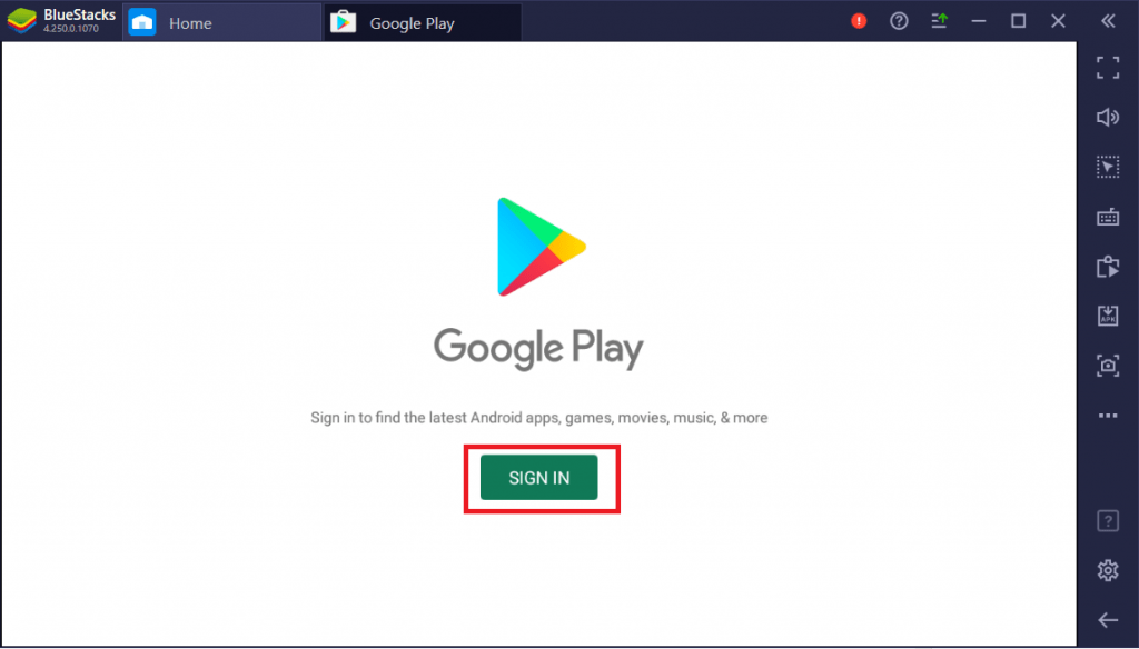Click on Sign In to login into Google PlayStore