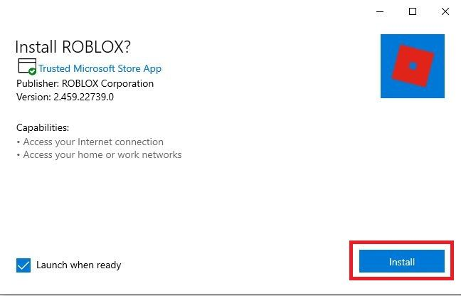 Click on the Install button to install Roblox on Your PC