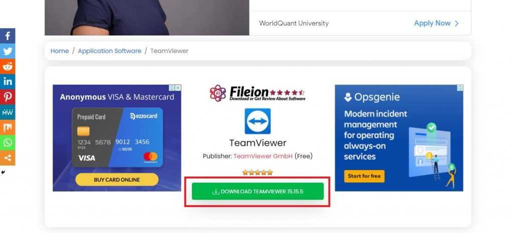 Click on the download button named Download TeamViewer
