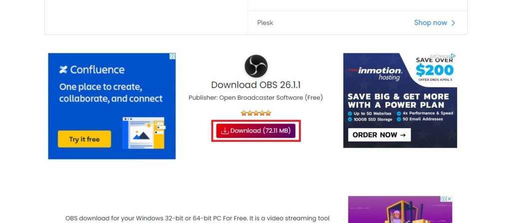 Click on the download button to start downloading OBS