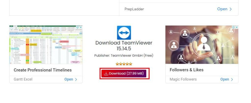 Click on the download button to start downloading TeamViewer