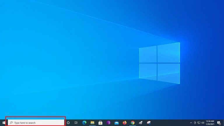 Locate the search bar On your Windows 10