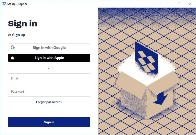 Login into dropbox and start creating backups of your Files