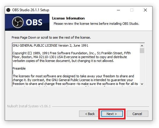 Read OBS License and click on Next
