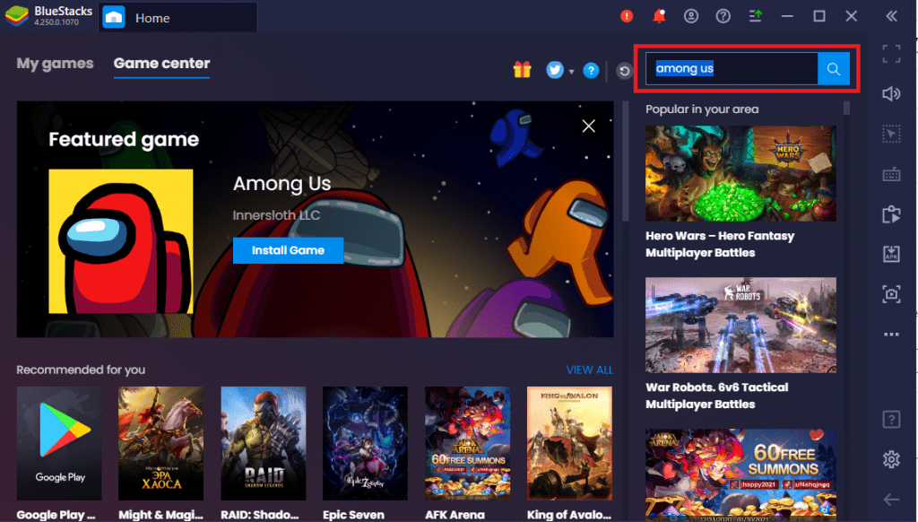 Search for Among Us on Bluestacks Search Bar