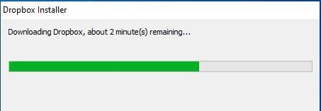 Wait until the Dropbox installer completes the download