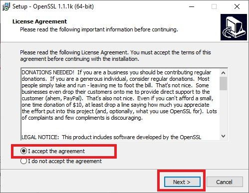 Accept the Agreement and click on Next