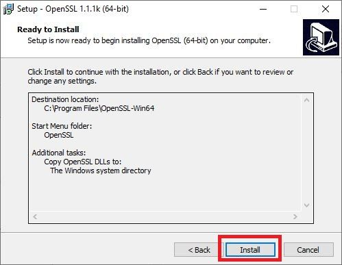 Click on Install to start installing OpenSSL on Windows PC