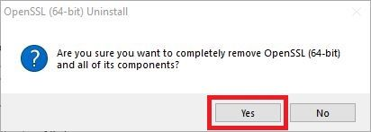 Click on Yes to continue the uninstallation process