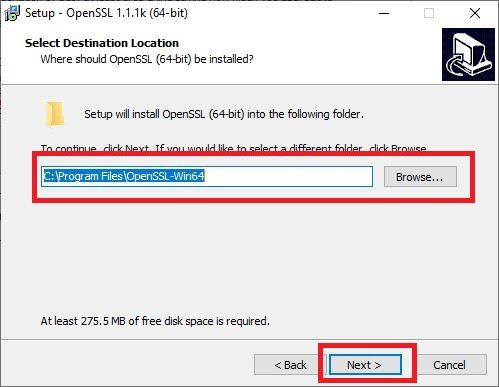 Select the location where you want to install OpenSSL