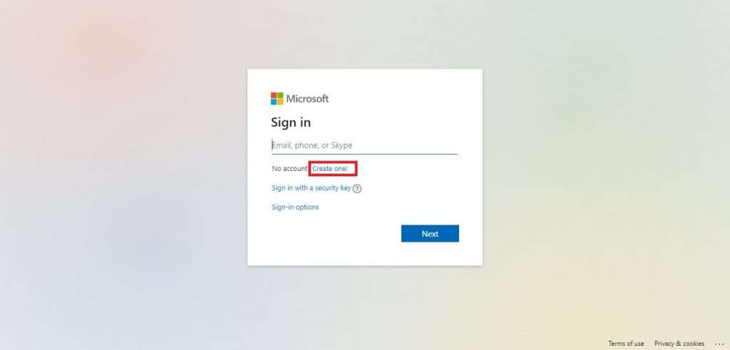 Click on Create one to start creating Microsoft Account