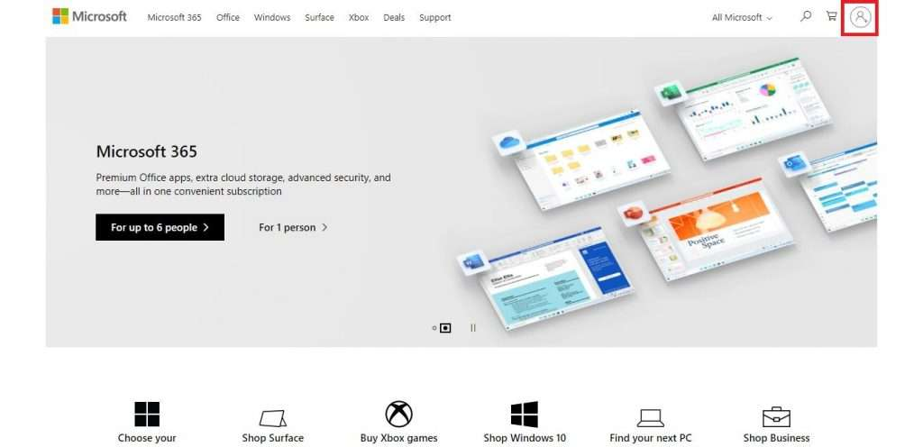 Click on the Man with Plus Icon to create Microsoft Account – Fileion