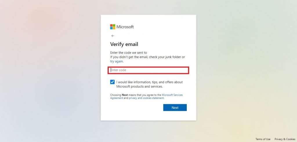 Type verification code this field For Microsoft Account Verification