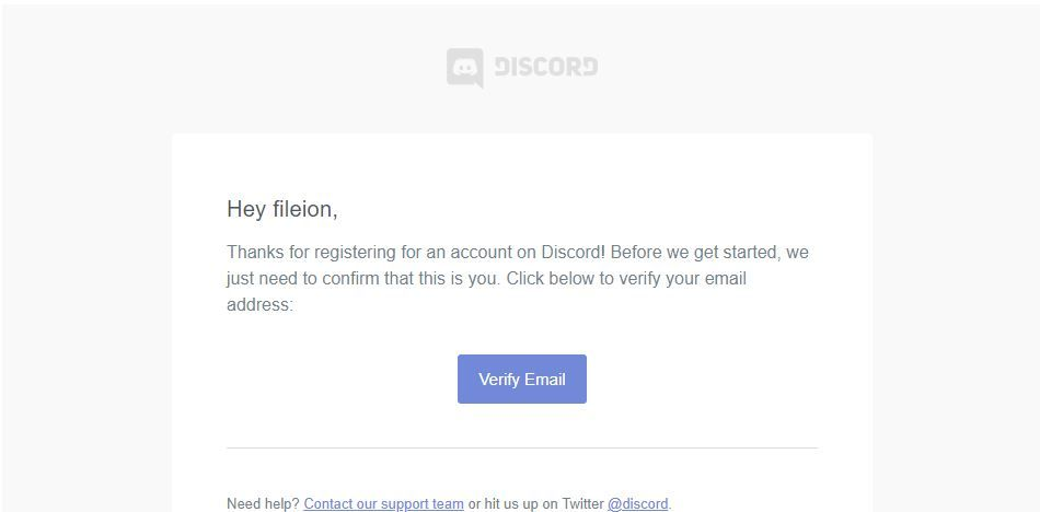 Verify Email Address to Complete making Discord Account