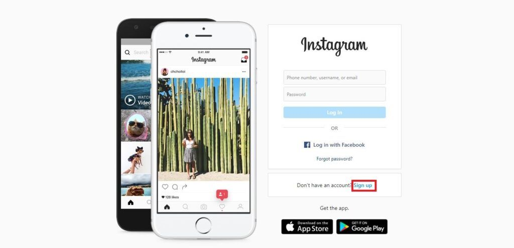 Click on SIgn Up to start create Instagram Account