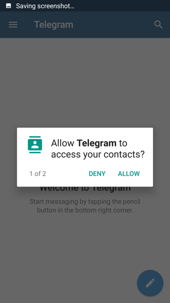 Click on allow to give permission to access Contacts