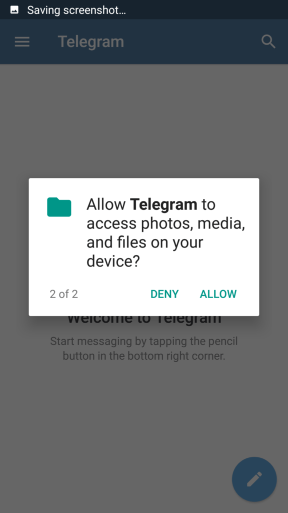 Click on allow to give permission to access Media