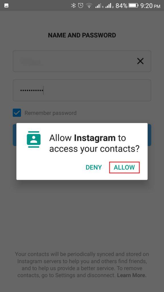 Click on Allow