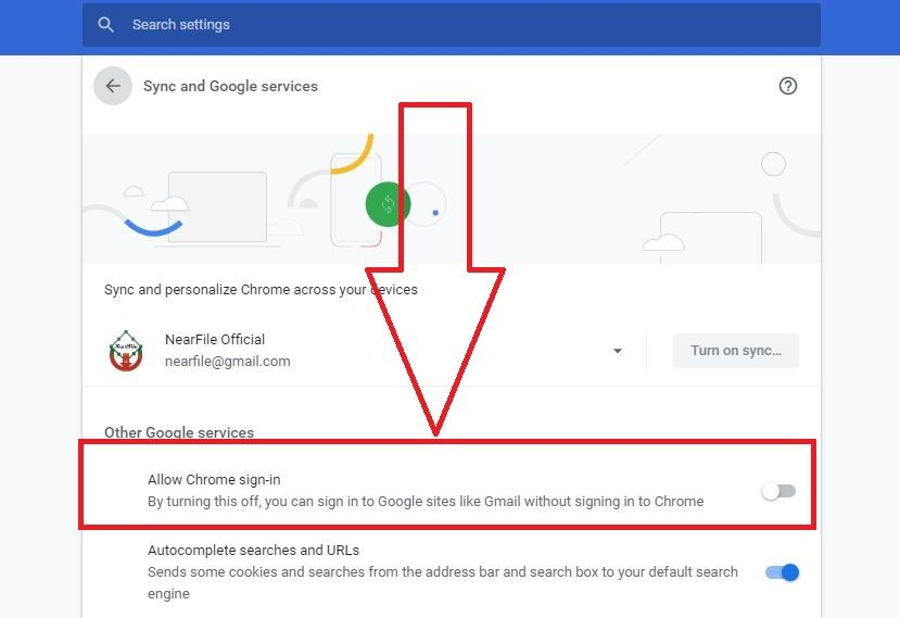 Enable Allow Chrome sign-in