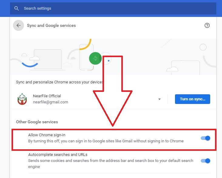 Enabled Allow Chrome sign-in