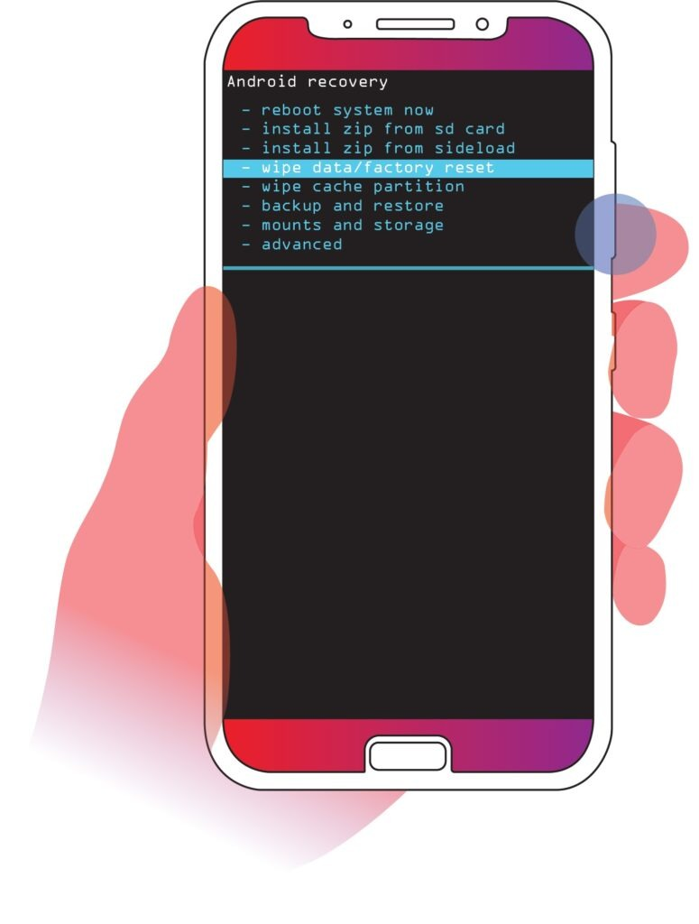 Scroll to wipe data factory reset option