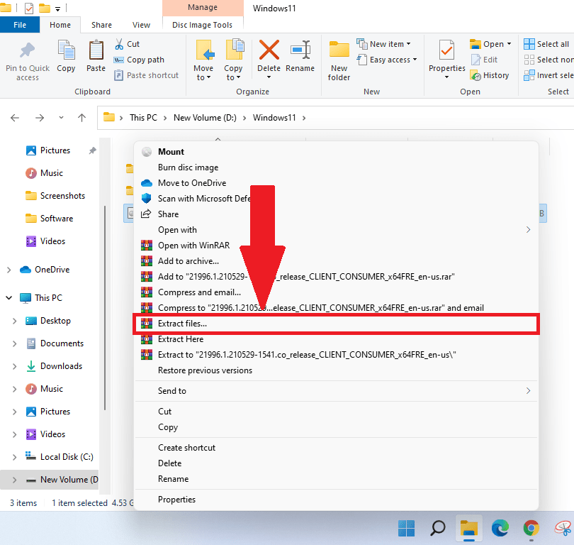 Click on Extract File To Extract Windows 11 ISO