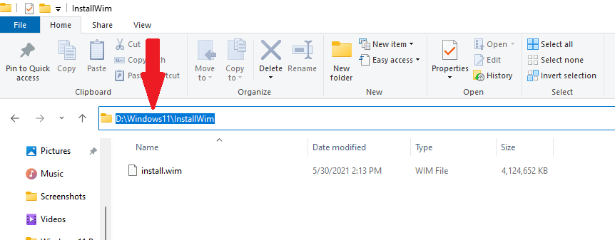 Copy the location of Windows 11 install.wim file