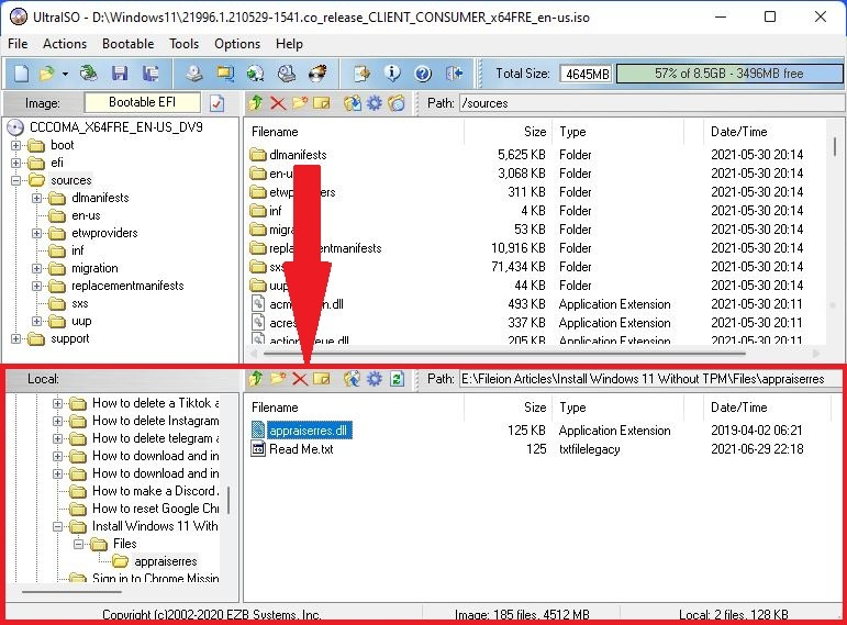 Navgate to the extracted windows 11 appraiserres.dll file from the bottom panel