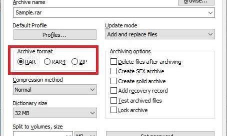 WinRAR Supported Formats to Compress files